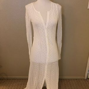 Other - L Space White Lace button up swim cover up